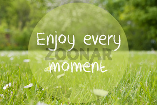 Gras Meadow, Daisy Flowers, Quote Enjoy Every Moment
