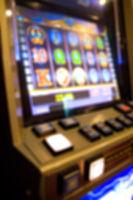 Blur focus in casino. Slot machine in a casino.