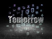 Timeline concept: Tomorrow in grunge dark room