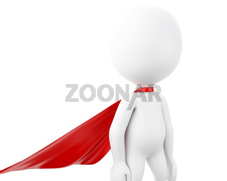 3d Super hero with red cape.