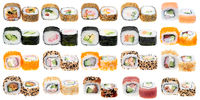 Different kinds of sushi roll isolated on white background. Japanese cuisiune