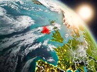 Ireland from space during sunrise