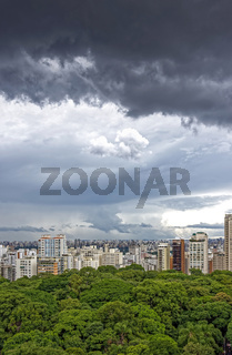 Dark rain clouds over Sao Paulo city