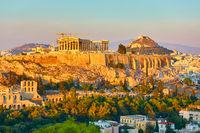 The Acropolis and panoramic view of Athens city in Greece