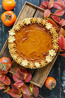Traditional American pumpkin pie.