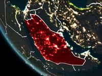 Satellite view of Saudi Arabia at night