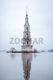 Kalyazin flooded orthodox church on Volga river in Russia