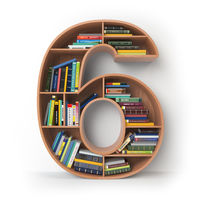 Number 6 six. Alphabet in the form of shelves with books isolated on white.