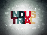 Industry concept: Industrial on Digital Data Paper background
