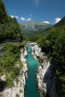Mountains river Soca in Julian Alps, Slovenia
