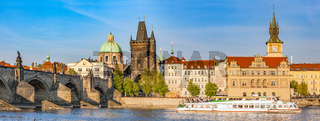 Prague, Czech Republic. Charles Bridge, boat cruise on Vltava river. Vintage