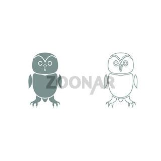 Owl grey set icon .