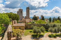 Courtyard of the ancient fortress ruin in the city of San Gimignano in Italy