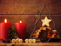 Scandinavian Christmas background with star shaped cookies