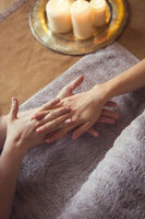 Hand massage at spa