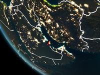 Satellite view of Qatar at night
