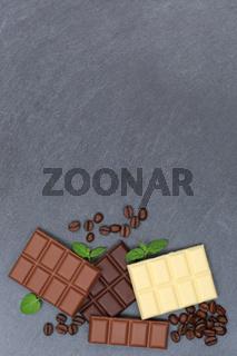 Schokolade Tafel Schiefertafel Süßigkeiten Essen hochkant Textfreiraum von oben