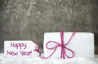 White Gift, Snow, Label, Text Happy New Year