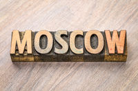 Moscow word abstract in wood type