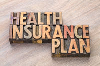 health insurance plan word abstract in wood type