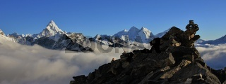 Mount Ama Dablam and Thamserku