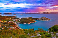 Kornati islands national park archipelago at dramatic sundown view from above