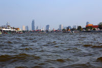 View on Bangkok from boat on river