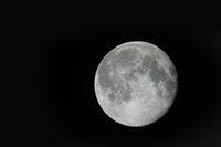 Full moon in the black sky