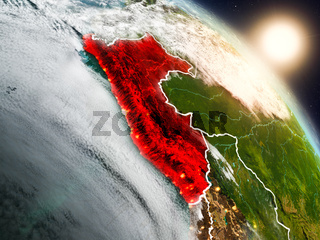 Peru from space during sunrise