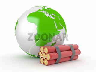 Earth with dynamite on white isolated background. 3d