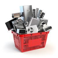 Kitchen appliances in the shopping basket. Online e-commerce concept.