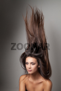 Woman thrown up her hair