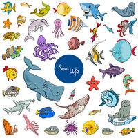 cartoon sea life animal characters set