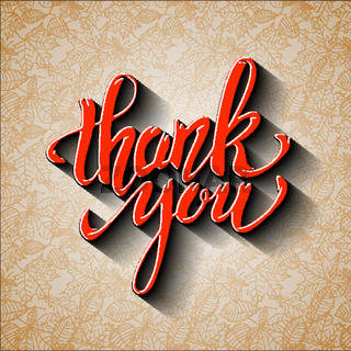 Thank You. Hand drawn lettering with shadow effect on background