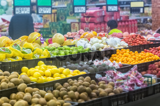variety of fruits in supermarket