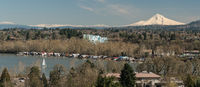 Boats on Willamette River Below Mount Hood Oregon North America