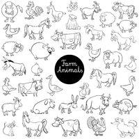 cartoon farm animal characters set color book