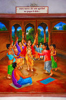 Painting of Pralhad Maharaj in gurukul with friends. ISKCON temple, Pune