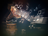 Gramophone with golden notes. Music art background.