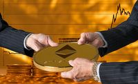 Three traders hands holding large ether or ethereum coin