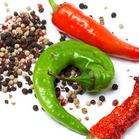 Various of hot peppers on white