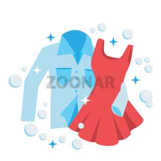 Clean Laundry shirt and dress embrace, concept for love and romance