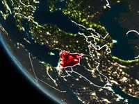Satellite view of Syria at night