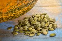 raw pumpkin seeds pile