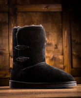 CLose up view of suede black boot.