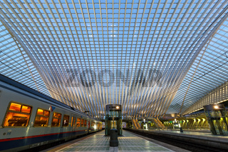 Bahnhof Liege Guillemins Lüttich Station Zug Bahn Santiago Calatrava Belgien