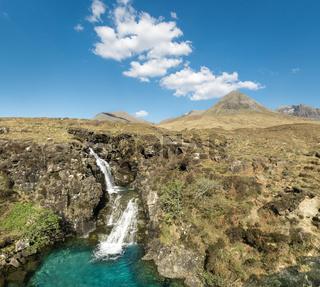 Waterfall in Glen Brittle valley. Cuillin Hills. Isle of Skye.