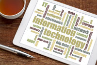 information technology word cloud on tablet