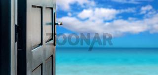 Opened door concept to beautiful paradise island