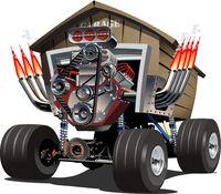 Vector Cartoon Garage Truck.